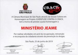 Certificado Juventude Contra o Crack JEAME